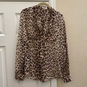 Equipment Leopard Animal Print 100% Silk Blouse